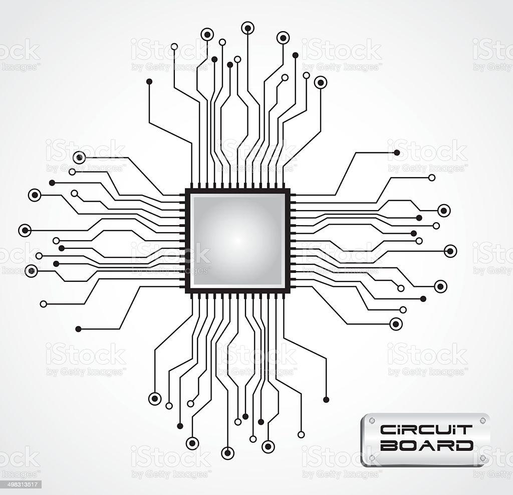 circuit board cpu vector art illustration