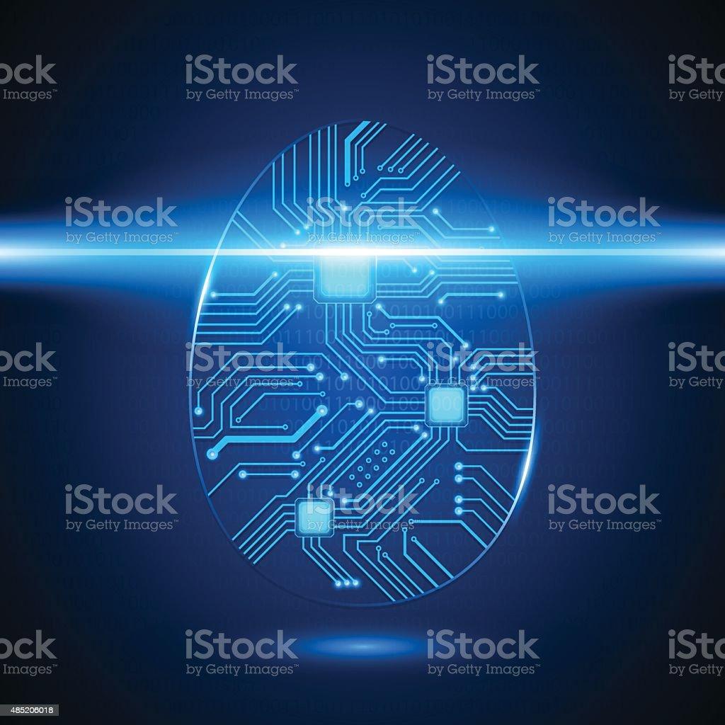 Circuit Board Fingerprint, Vector vector art illustration