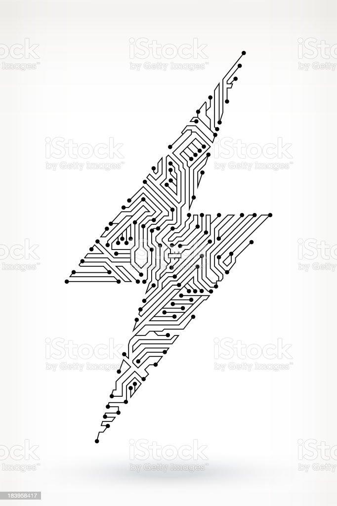Circuit Board Lightning Bolt vector art illustration