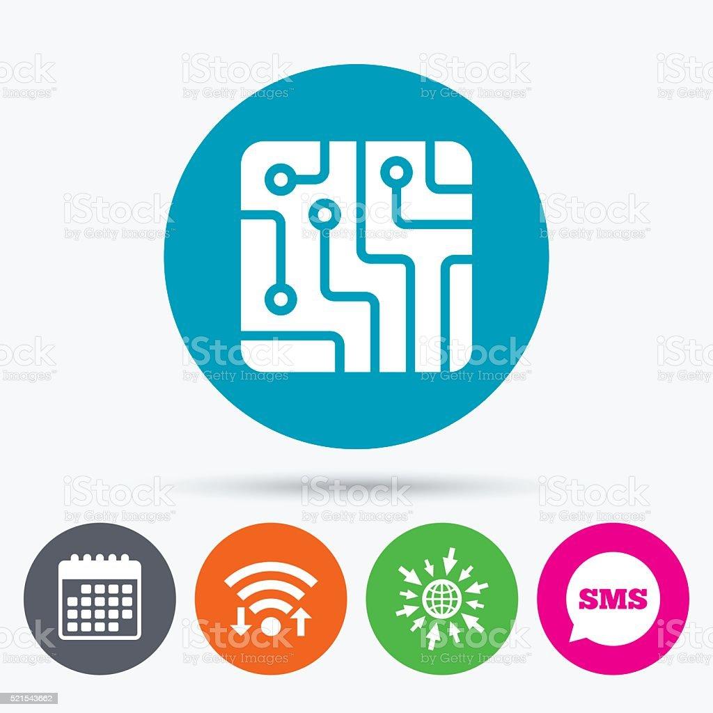 Circuit board sign icon. Technology symbol. vector art illustration