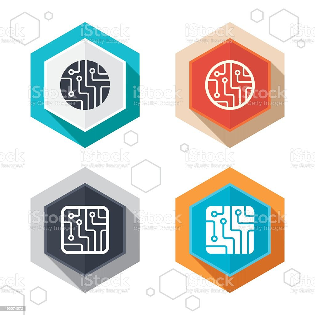Circuit board signs. Technology scheme icons vector art illustration