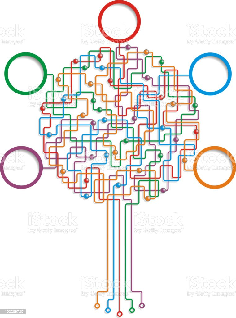 Circuit board tree pattern with place for your text royalty-free stock vector art
