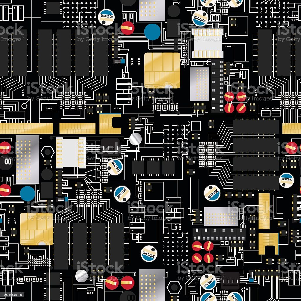 Circuit board with components and wires seamless pattern vector art illustration