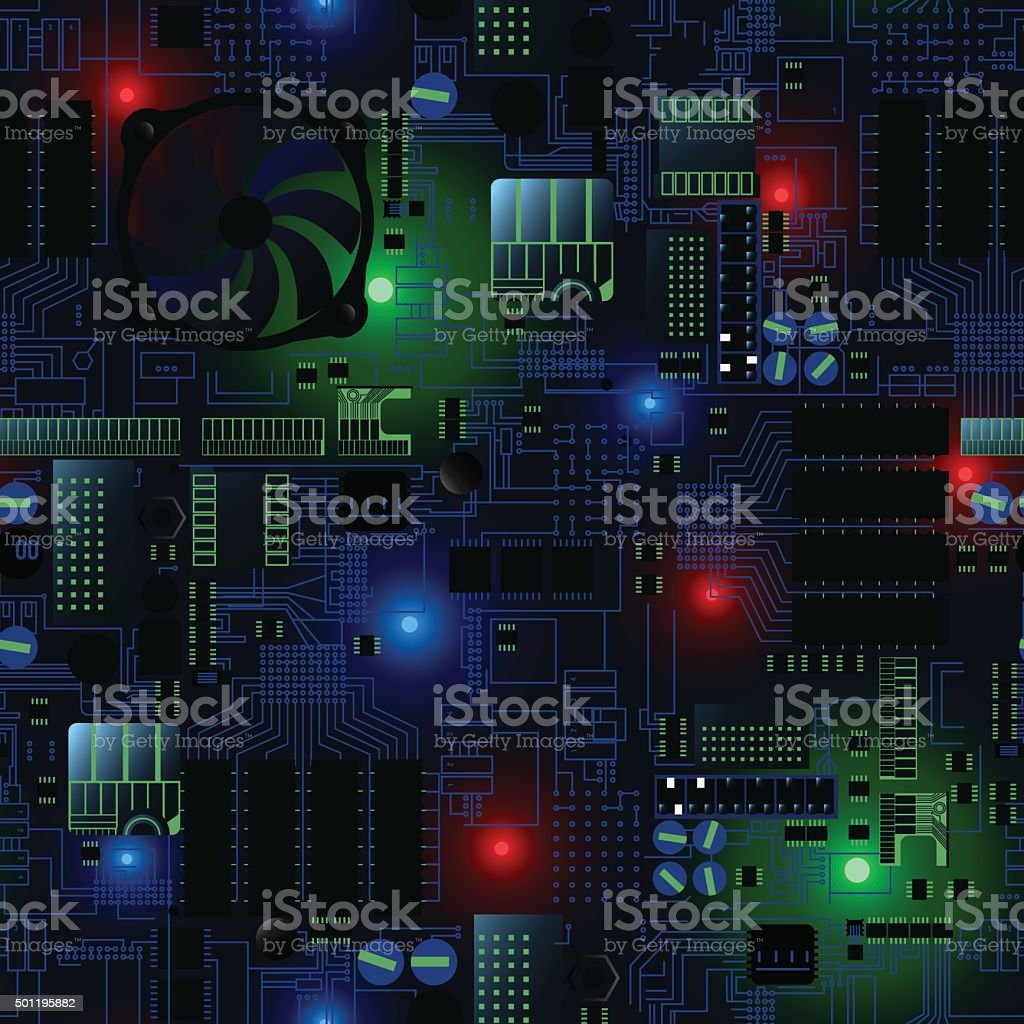 Circuit board with LED's and wires seamless pattern vector art illustration