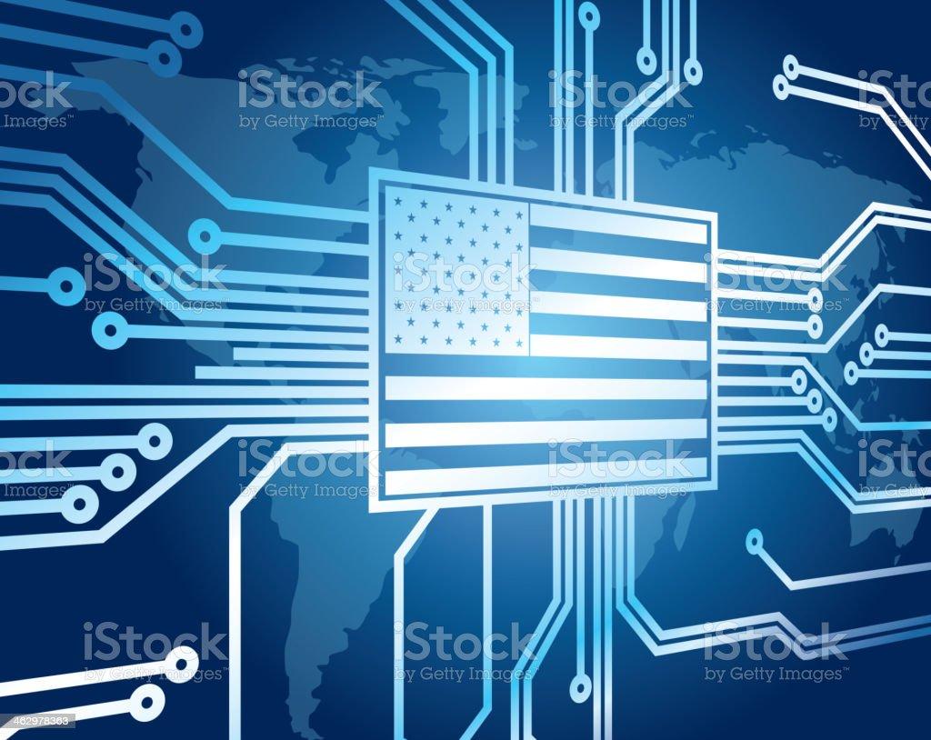 Circuit center is USA vector art illustration