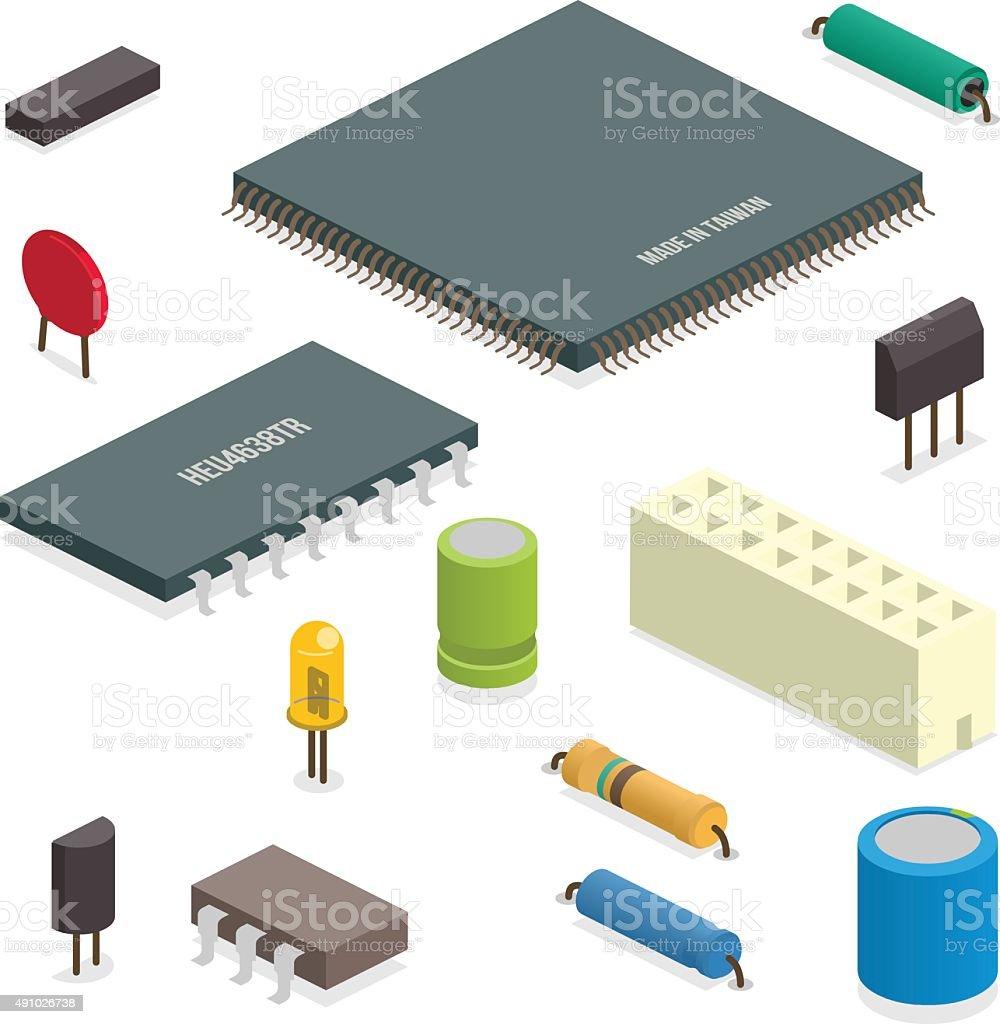 circuit elements vector art illustration