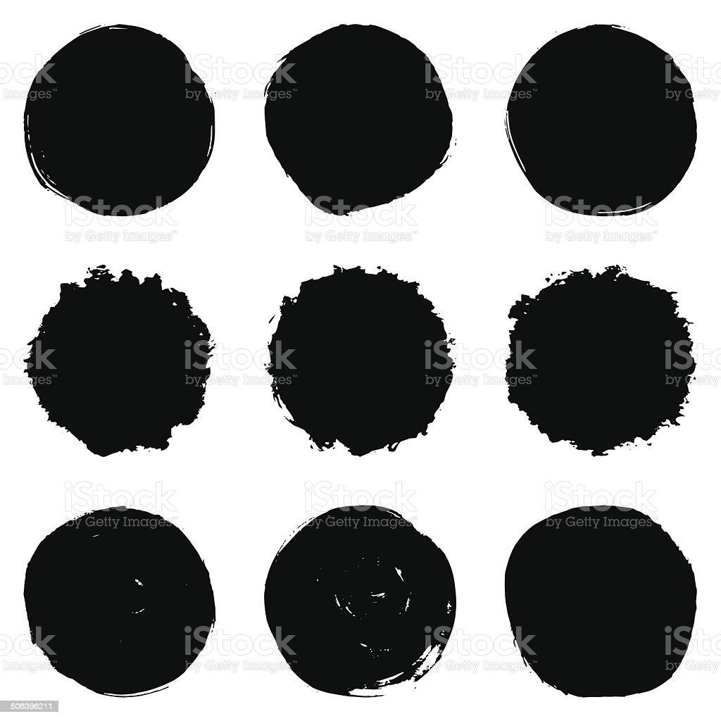 Circular Brush Stroke Set vector art illustration