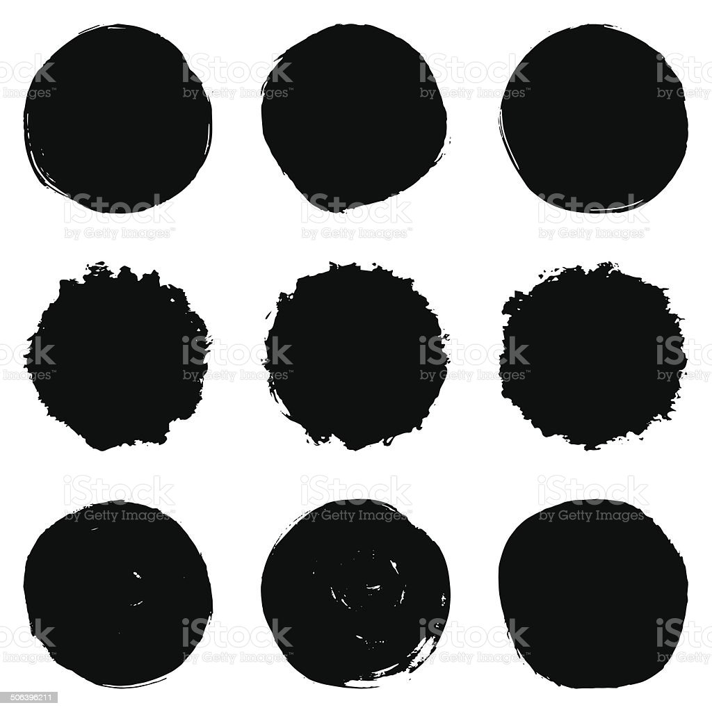 Circular Brush Stroke Set vector art illustration