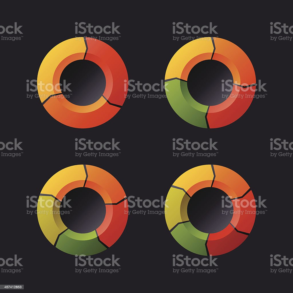 Circular Chart Template Set. Vector royalty-free stock vector art