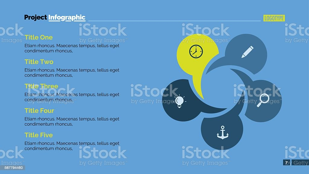 Circular Chart with Five Circles vector art illustration