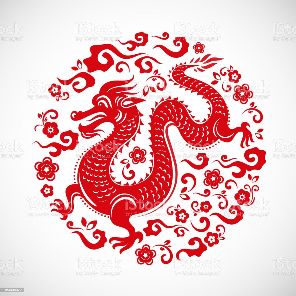 Circular Chinese New Year design with a red dragon on white vector art illustration