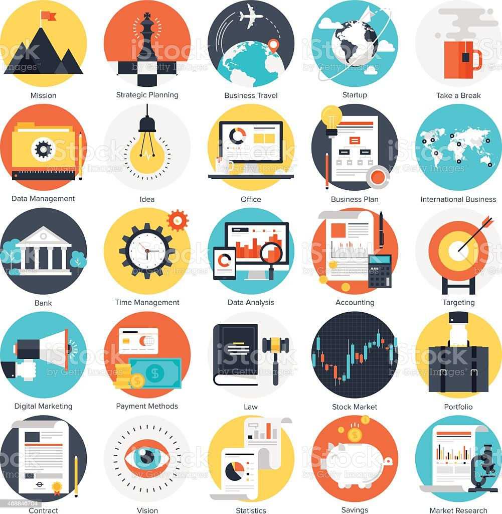 Circular colorful business icons vector art illustration