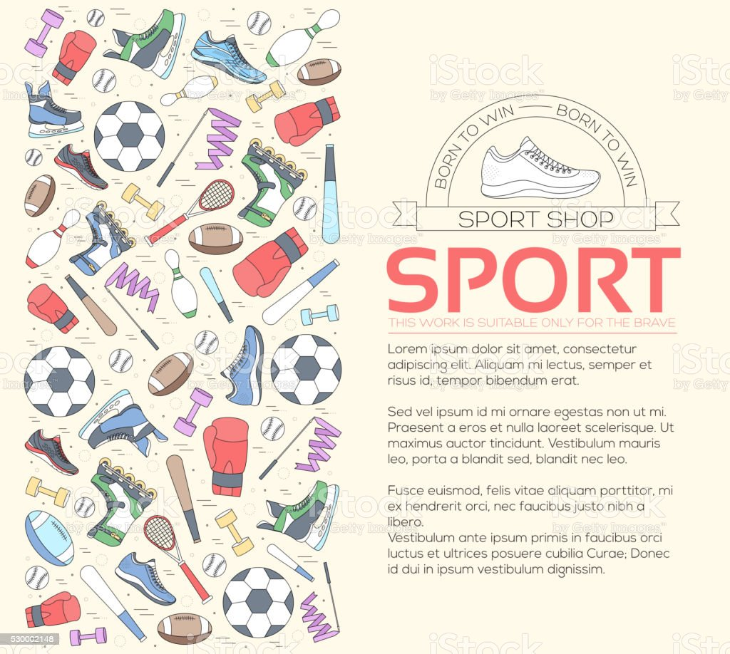 Circular concept of sports equipment background. vector art illustration