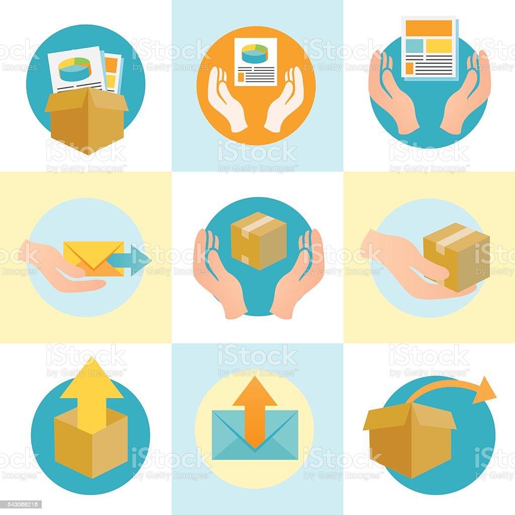 Circular Digital Products Icons vector art illustration