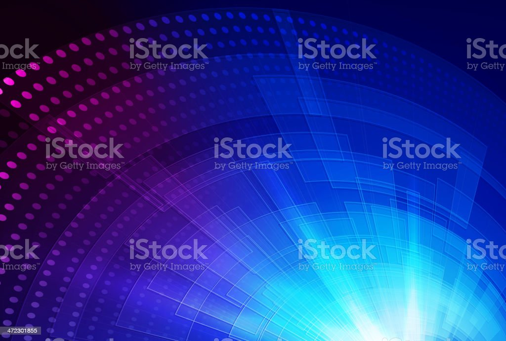 Circular dot and line pattern in blue and purple royalty-free stock vector art