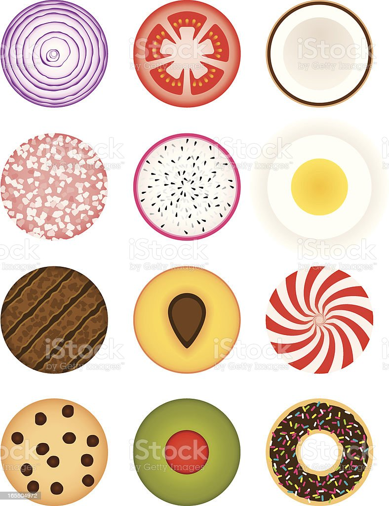 Circular Food vector art illustration