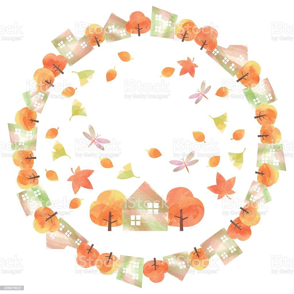 circular frame of autumn town vector art illustration
