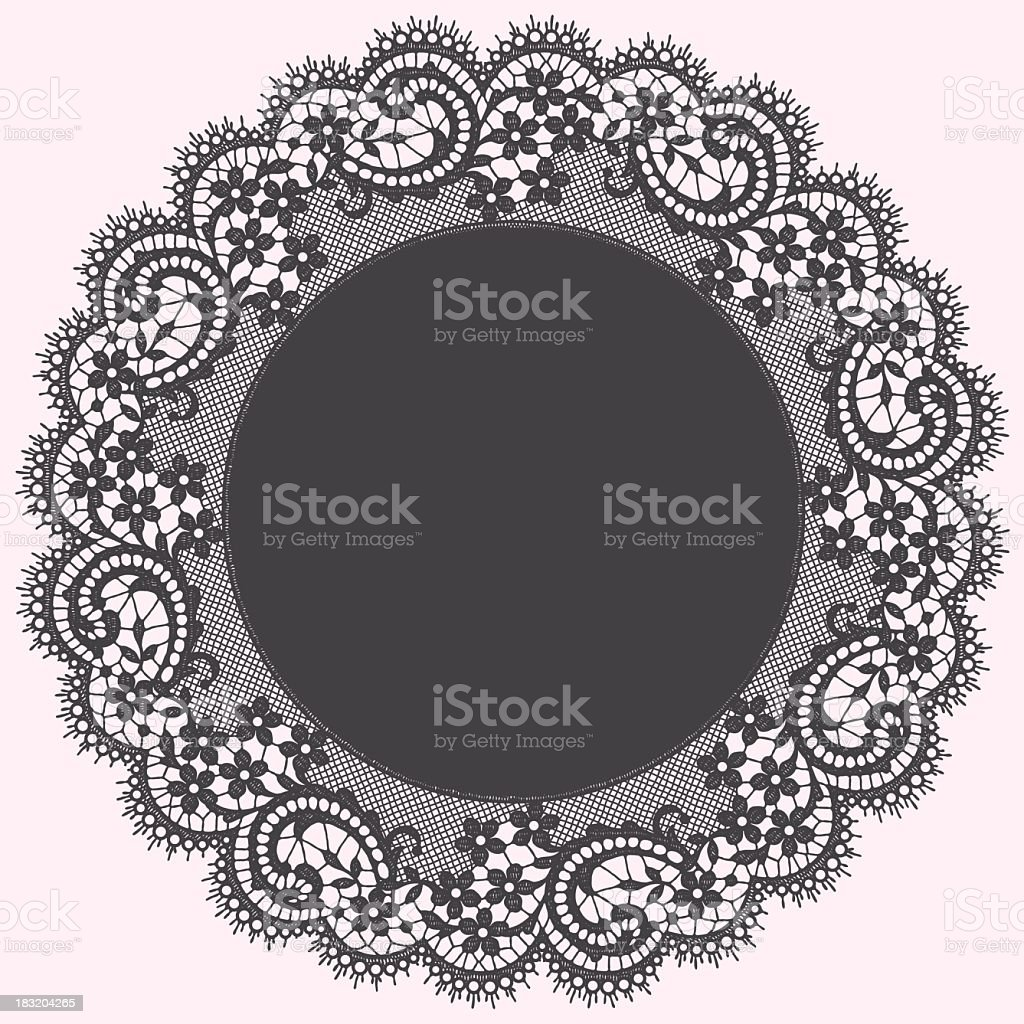 Circular gray lace doily graphic royalty-free stock vector art