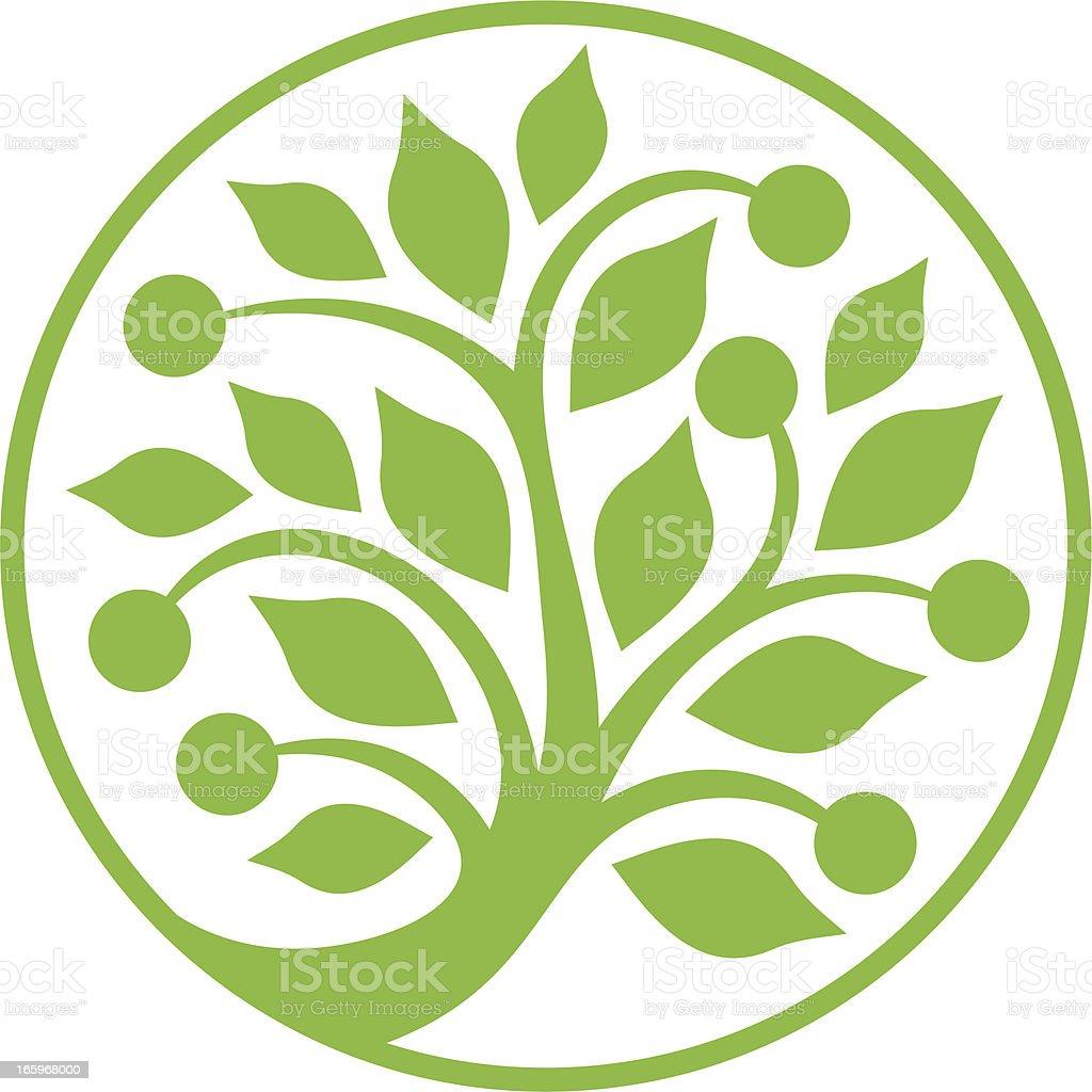Circular green tree vector art illustration