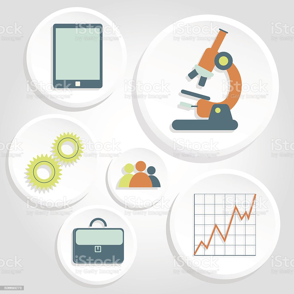 Circular icons of science and business royalty-free stock vector art