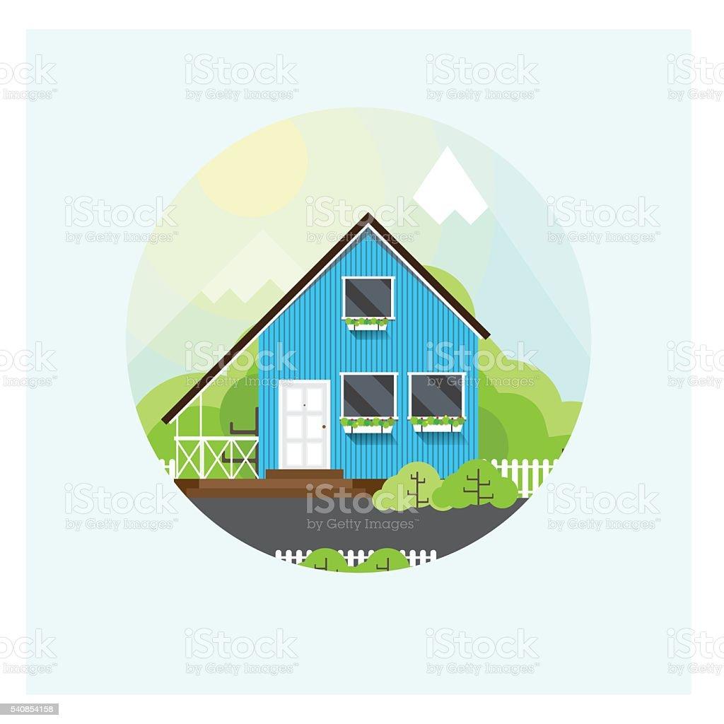 Circular illustration of the house vector art illustration