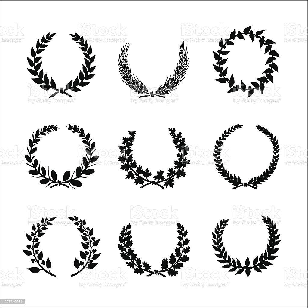Circular laurel wrearhs vector art illustration