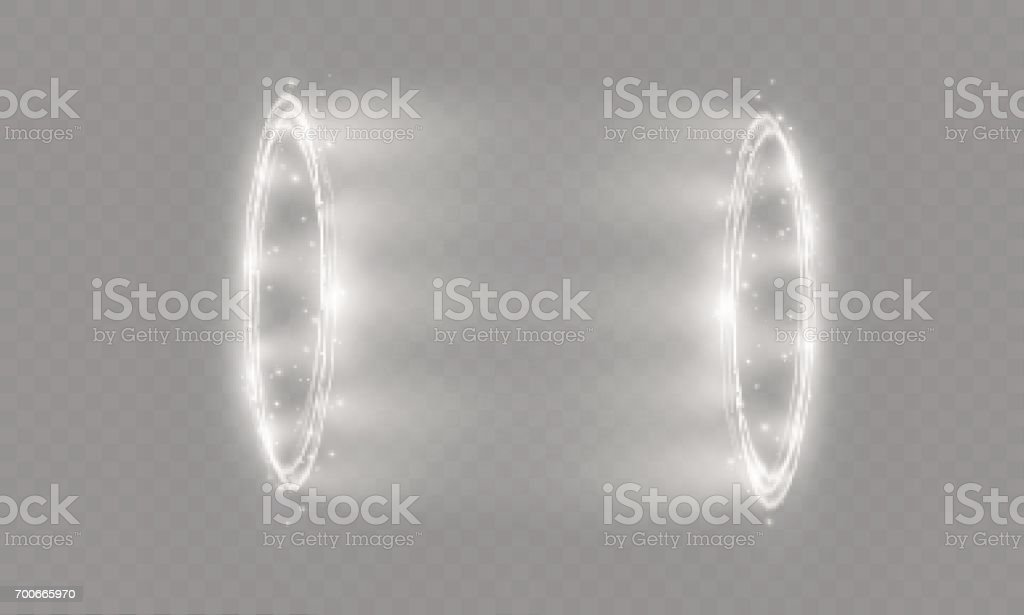 Circular lens flare transparent light effect. Abstract cross ellipse. Rotational glow line. Power energy. Glowing ring trace background. Round shiny frame. Vector circle vector art illustration
