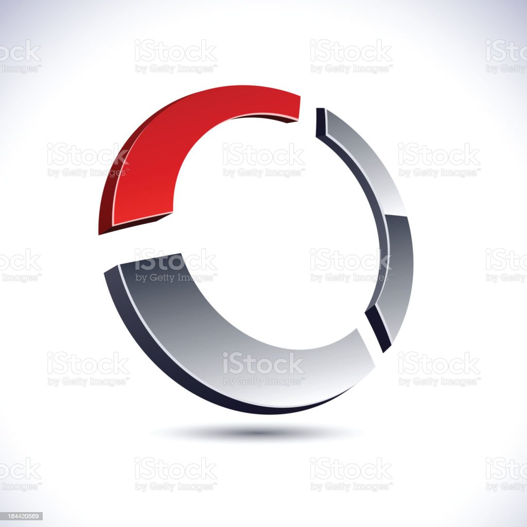 Circular logo made of two silver pieces and one red one royalty-free stock vector art