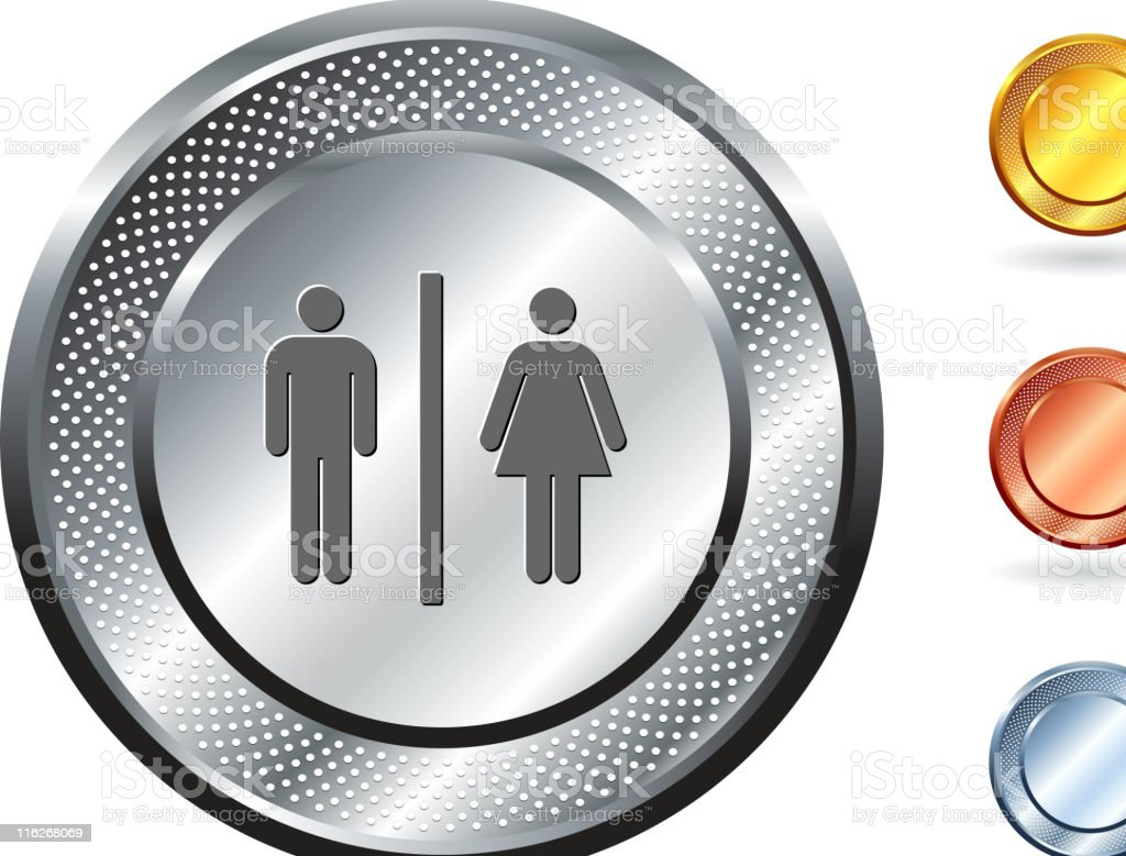 Circular metallic male and female restroom icon button with several colour options along right hand side royalty-free stock vector art