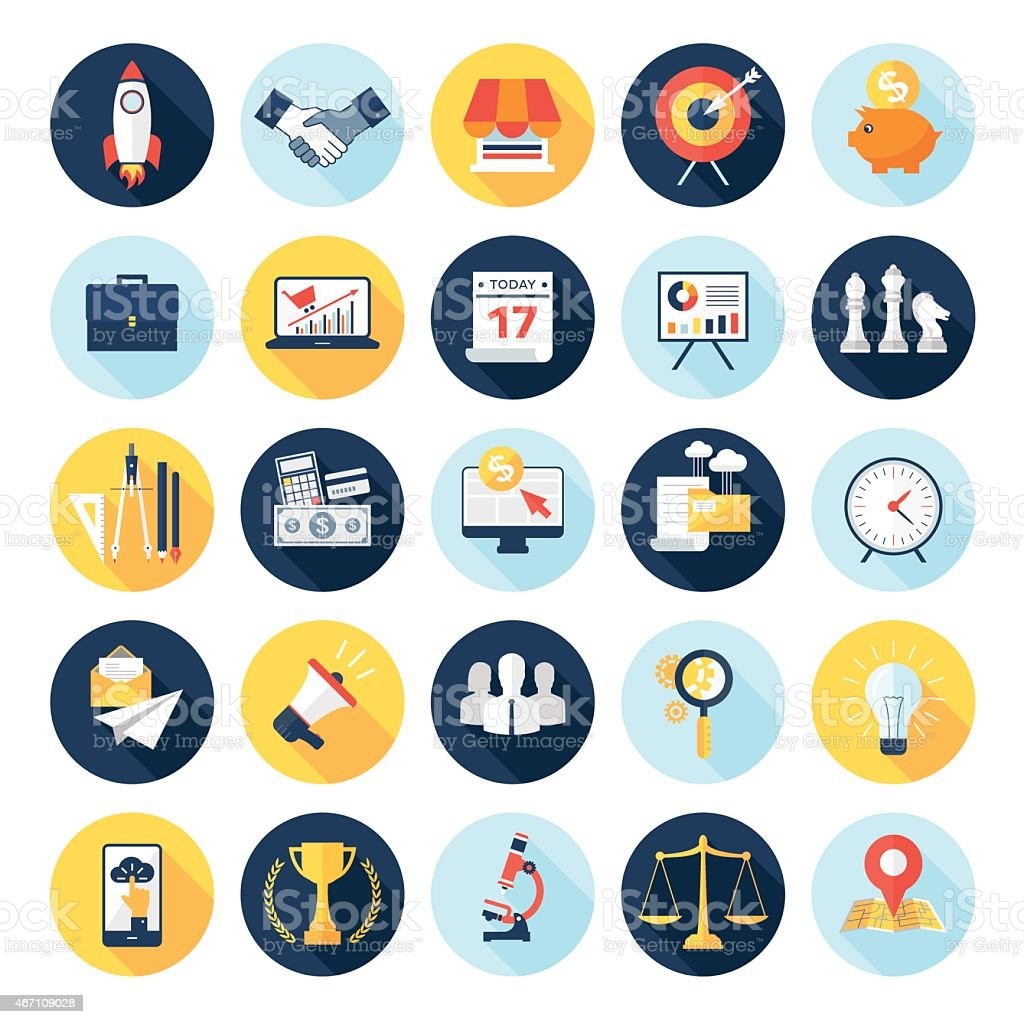 Circular multicolored business icons on a white background vector art illustration