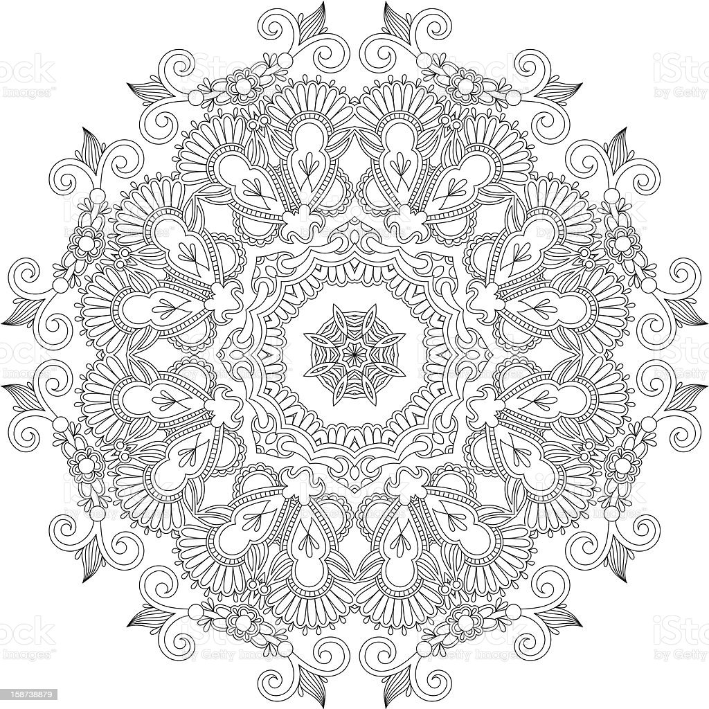 Circular ornament pattern in black and white royalty-free stock vector art