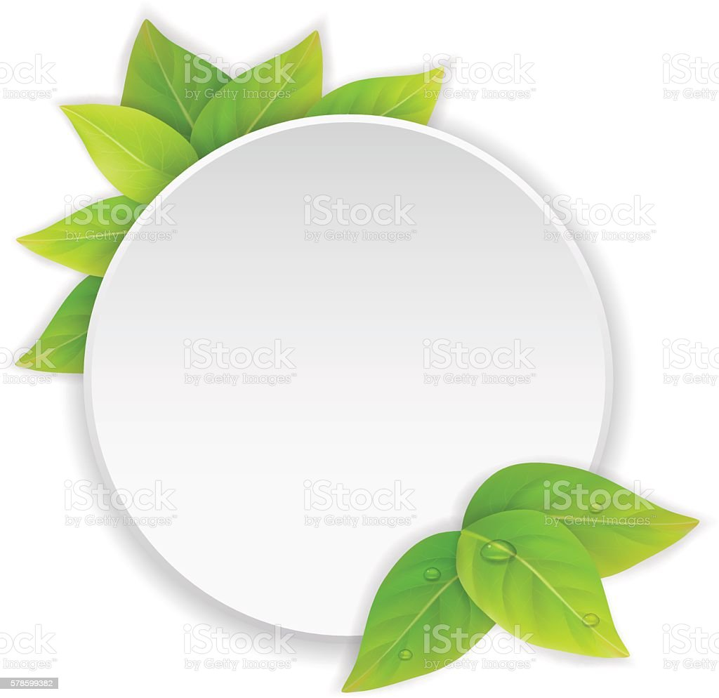 Circular paper label with green leaves vector art illustration