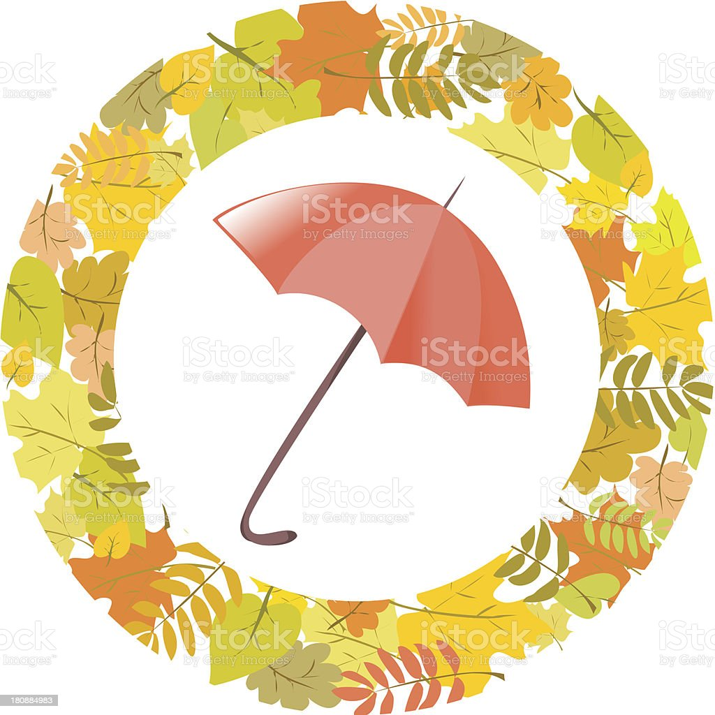circular pattern of autumn leaves and umbrella royalty-free stock vector art