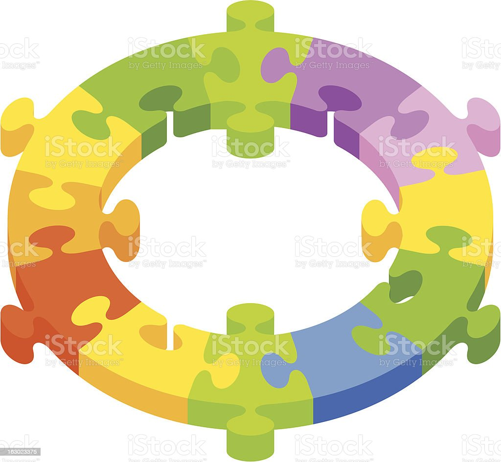 Circular puzzle with colored pieces royalty-free stock vector art