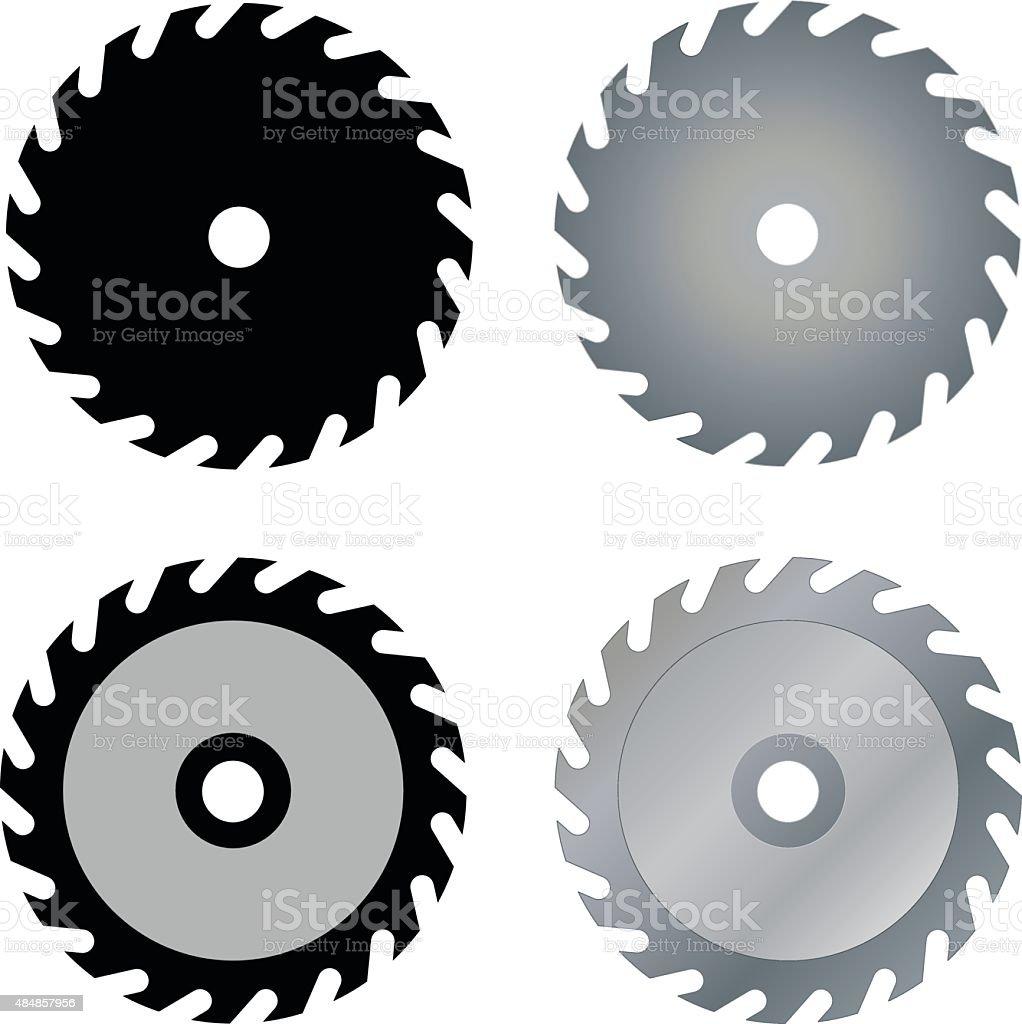circular saw blades vector art illustration
