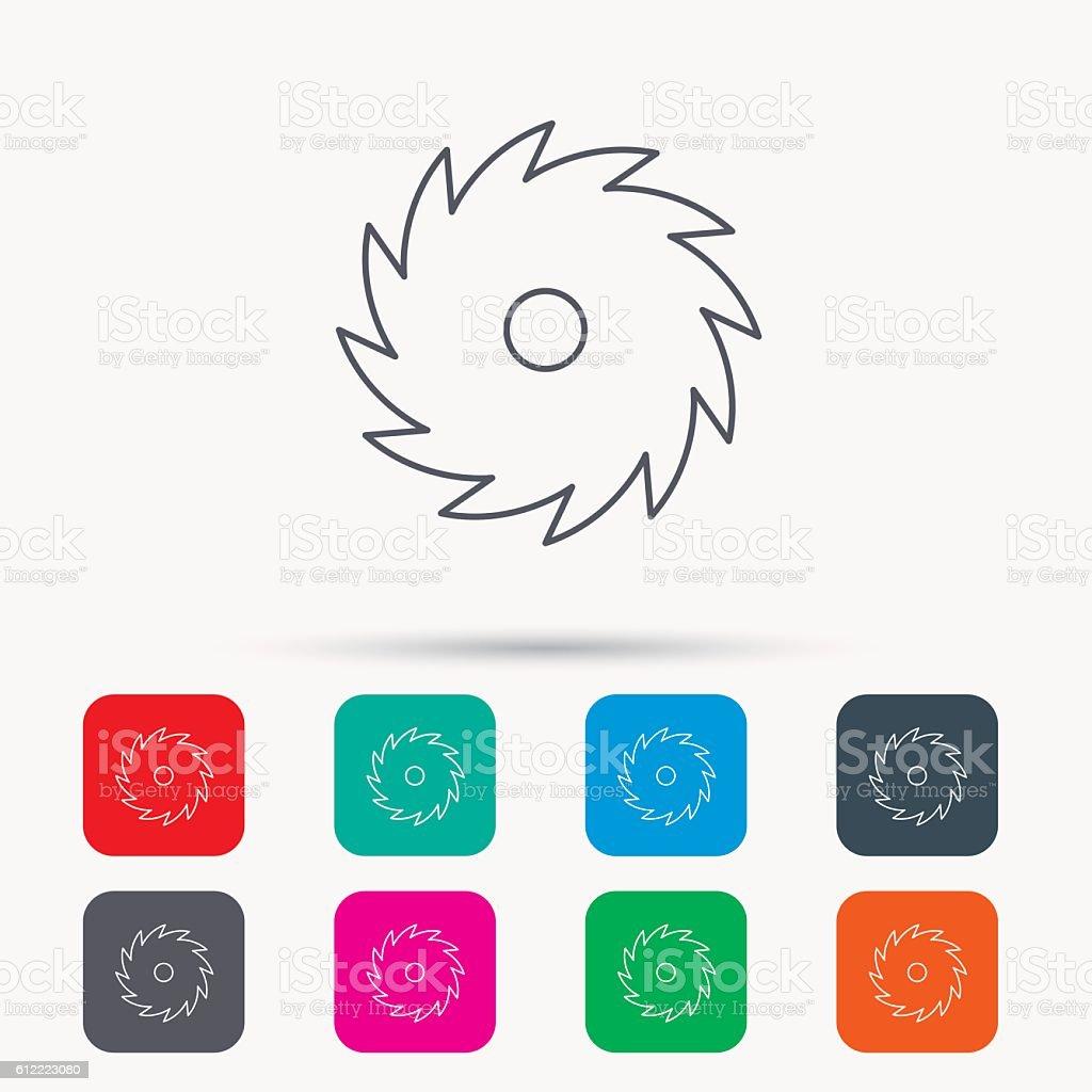 Circular saw icon. Cutting disk sign. vector art illustration