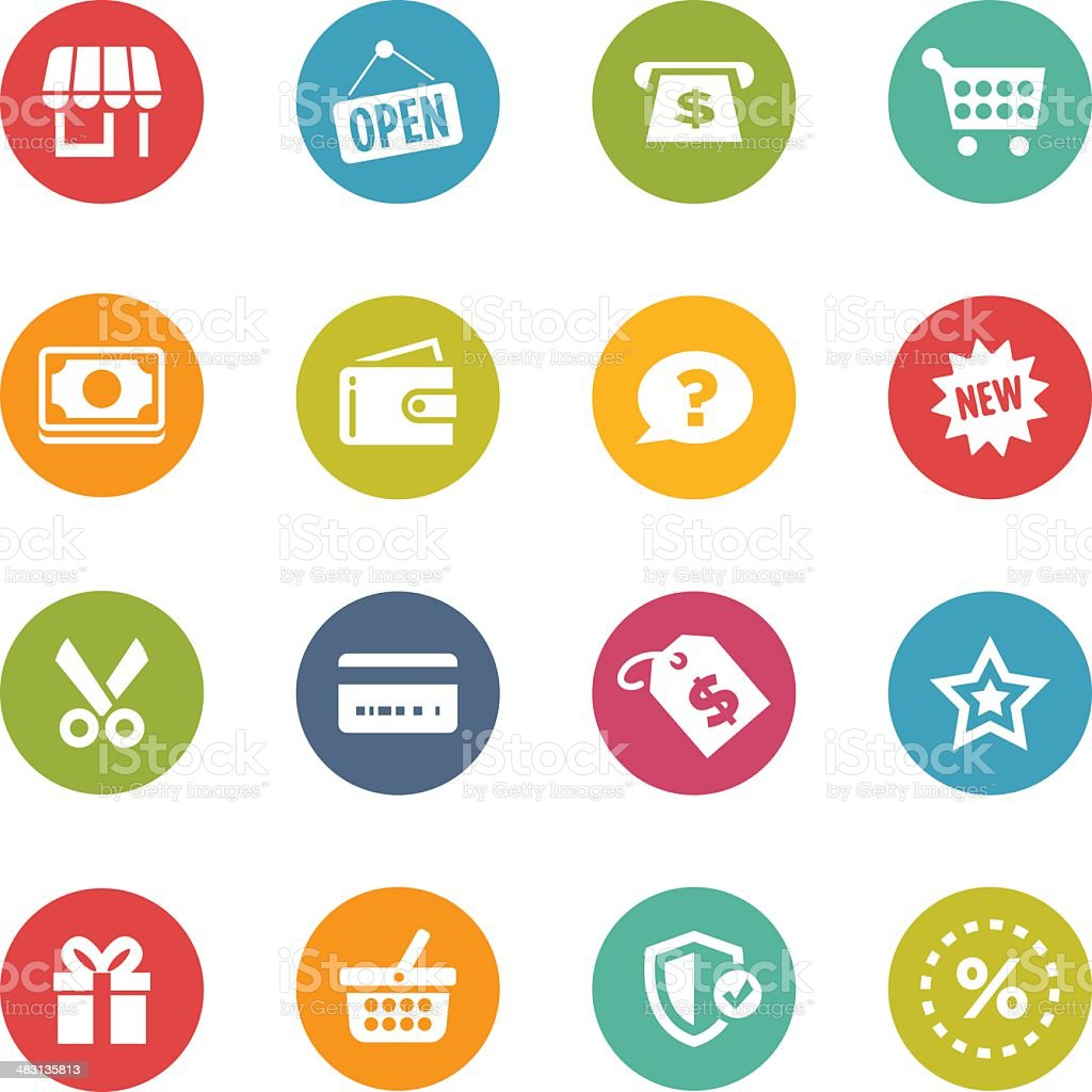 Circular shopping themed icons in various colors vector art illustration