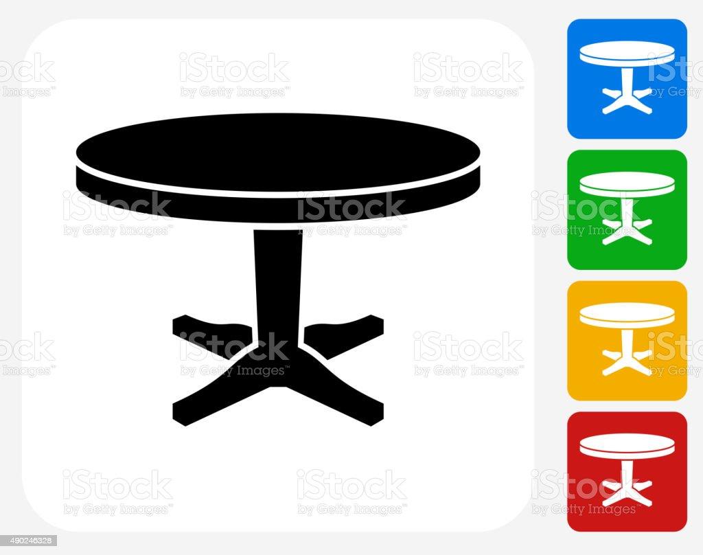 Circular Table Icon Flat Graphic Design vector art illustration