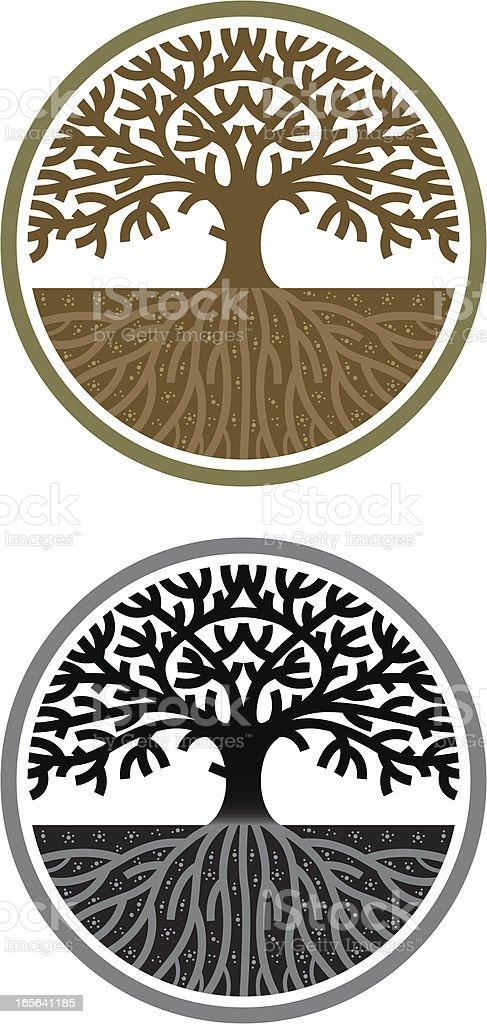 Circular tree vector art illustration