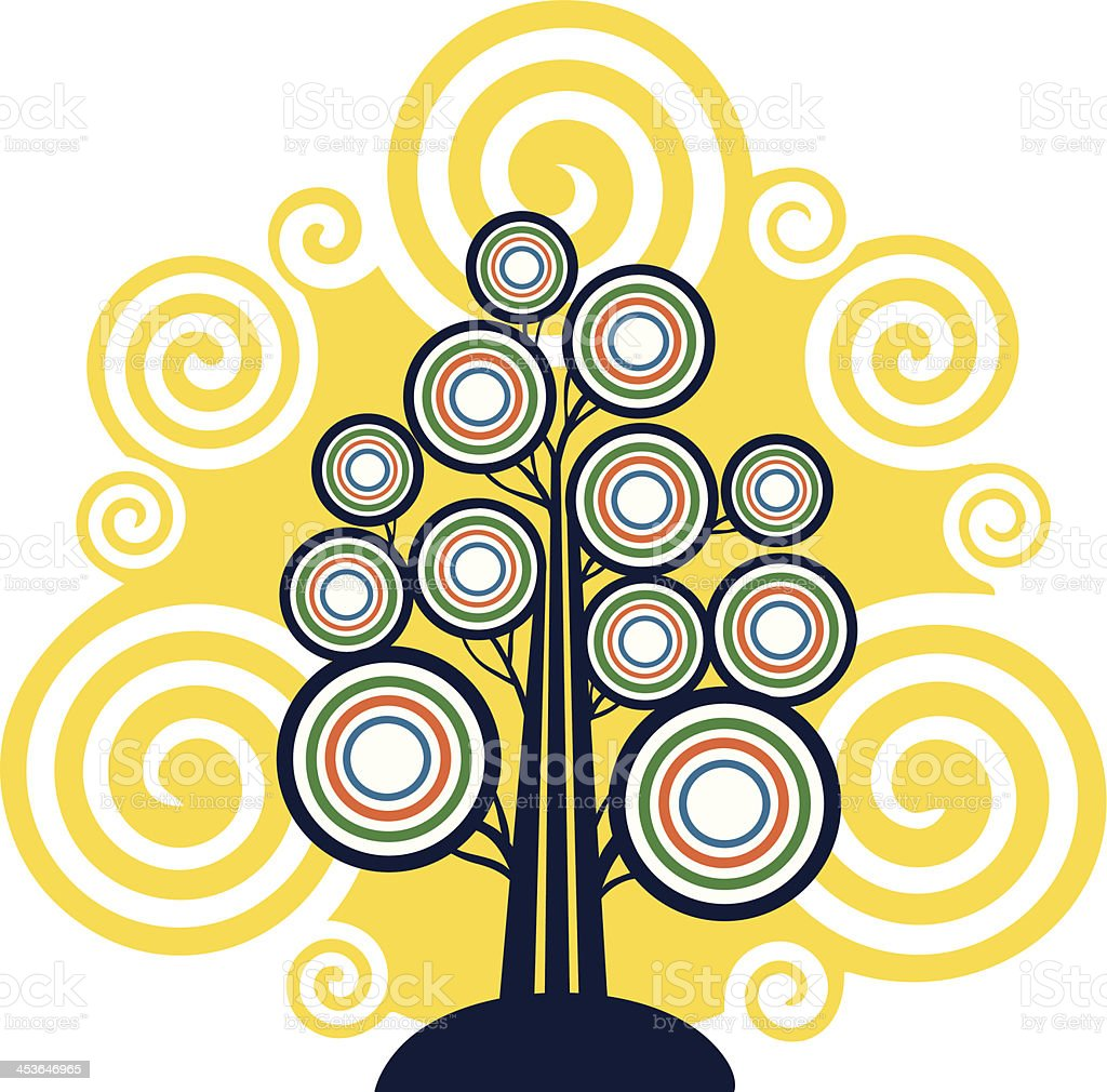 Circular Tree with Spirals royalty-free stock vector art