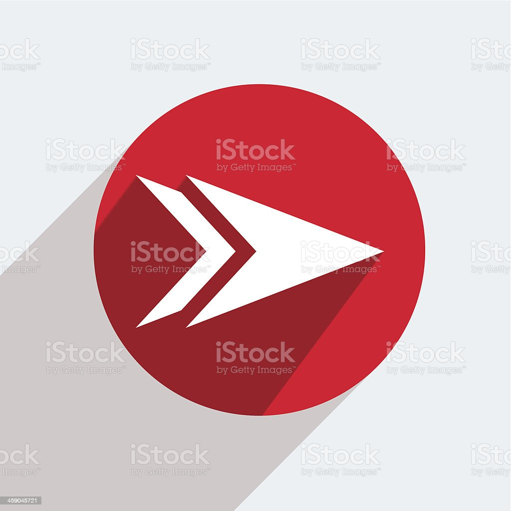 Circular vector icon in red of a white arrow vector art illustration