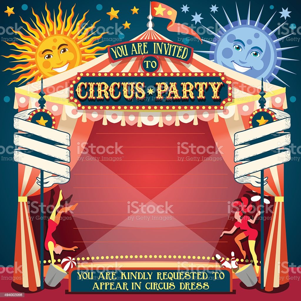 Circus 02 Invitation Vintage 2D vector art illustration