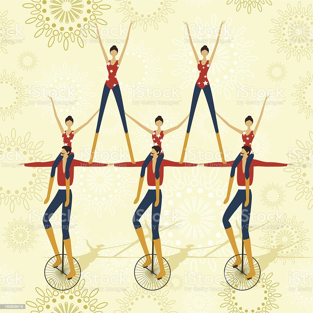 Circus acrobatics show vector art illustration