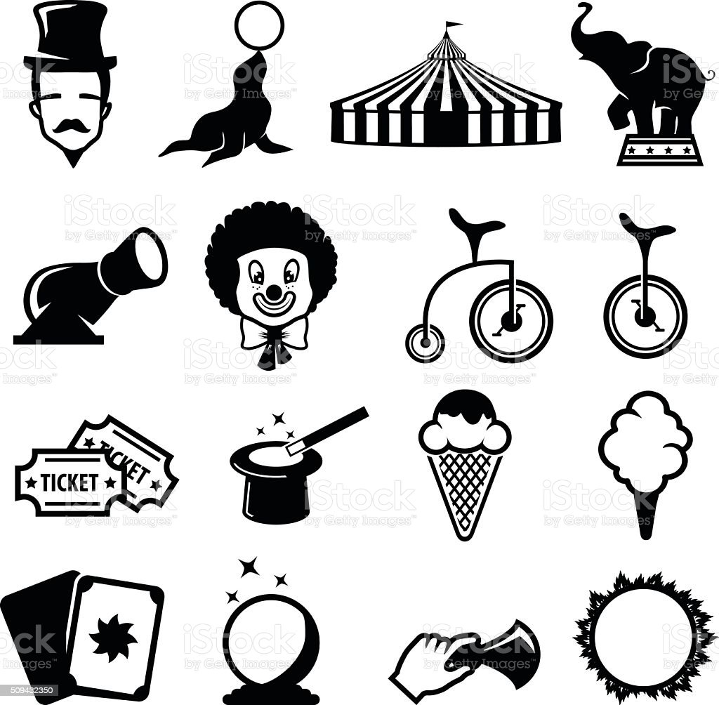 Circus and carnival icon set vector art illustration