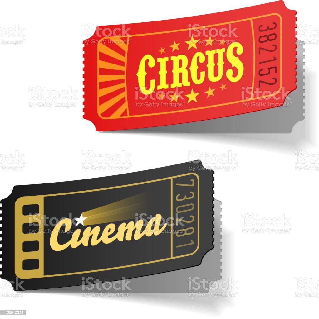 Circus and cinema tickets royalty-free stock vector art