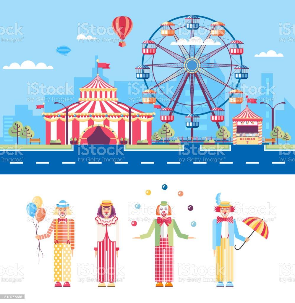 Circus and Clowns vector art illustration