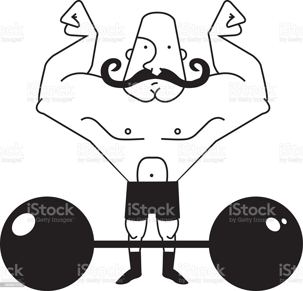 Circus athlete with barbell. Contour vector art illustration
