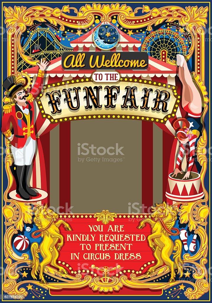 Circus Carnival Frame vintage 2d vector vector art illustration