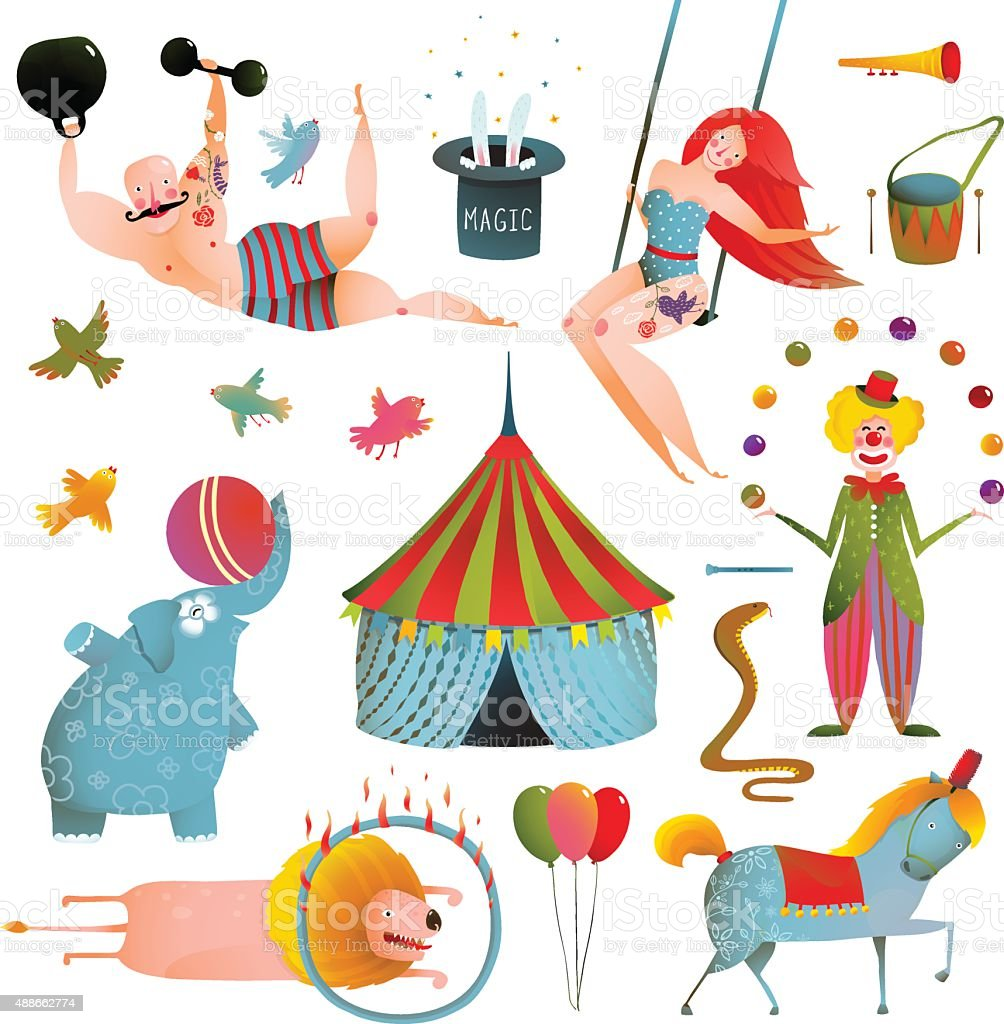 Circus Carnival Show Clip Art Vintage Collection vector art illustration