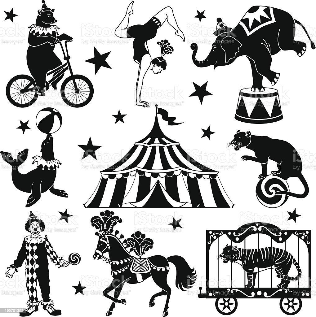 circus characters vector art illustration